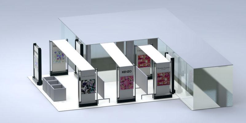 Fabric frames. The Mantero retail concept store